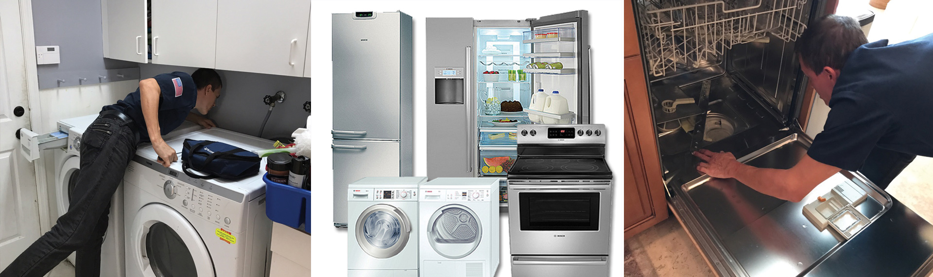 Samsung, Kenmore, Whirlpool, Hot Point, LG, Admiral, Maytag appliances